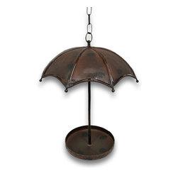 Zeckos - Charming Metal Umbrella Hanging Bird Feeder - It may be raining outside, but the birds will keep on singing with this amazing umbrella bird feeder. It's made of metal and hand painted with a rusted weathered finish that's perfect for the outdoors This bird feeder measures 16 inches high and 13 inches in diameter with a 27 inch hanging chain. The feeder tray measures 7 5/8 inches in diameter. Truly a conversational piece, this would make a beautiful and unique display in a garden, on the patio or just hanging from your favorite tree. The birds will surely flock to hang out under this whimsical shady umbrella