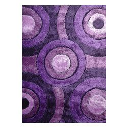 Rug - ~5 ft. x 7 ft. Shaggy Lavender Living Room Area Rug, Hand-tufted - Living Room Hand-tufted Shaggy Area Rug