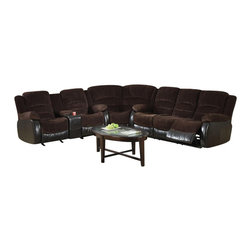 Coaster - Coaster Johanna Reclining Corduroy Sectional in Chocolate - Coaster - Sectionals - 600363S+L+WKIT - This casual sectional sofa will add the ultimate addition of reclining comfort to your newly furnished family entertainment room. A well matched piece in fabric and comfort this large sofa features soft textured corduroy making it the perfect child-hood fabric to cuddle into while contoured pillow-top cushions keep each muscle fully relaxed in cloud-like comfort. Added reclining footrests are topped with chaise style seats and extra padded leg rests leaving you with top-of-line comfort when it comes to traditional family recliners. Complete with a built-in cup holder and storage space amenity this reclining sectional sofa will provide its guests with the positive privilege of having drinks at their disposal.