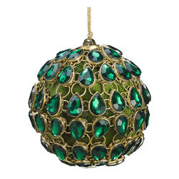 Silk Plants Direct - Silk Plants Direct Jeweled Ball Ornament (Pack of 4) - Green Gold - Pack of 4. Silk Plants Direct specializes in manufacturing, design and supply of the most life-like, premium quality artificial plants, trees, flowers, arrangements, topiaries and containers for home, office and commercial use. Our Jeweled Ball Ornament includes the following: