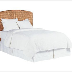 """Seagrass Headboard, King, Honey - The classic arched Seagrass Headboard is distinguished by its texture. Durable, renewable natural fibers are hand woven over a hardwood frame using a Bali-style weave. Features the subtle variations in tone and texture unique to natural plant fibers. Expertly crafted with a kiln-dried solid hardwood frame and legs. Covered with handwoven natural fiber and sealed with two coats of clear lacquer for moisture resistance. Honey has honey-stained legs and is woven of seagrass. Havana Dark has mahogany-stained legs and is woven of abaca. The headboard is guaranteed to fit with our PB metal bedframe using the headboard hardware. View and compare with other collections at {{link path='pages/popups/bedroom_DOC.html' class='popup' width='720' height='800'}}Bedroom Furniture Facts{{/link}}. Twin: 40"""" wide x 4"""" deep x 56"""" high Full: 55"""" wide x 4"""" deep x 56"""" high Queen: 62"""" wide x 4"""" deep x 56"""" high King: 78"""" wide x 4"""" deep x 56"""" high Cal. King: 75"""" wide x 4"""" deep x 56"""" high View our {{link path='pages/popups/fb-bedroom.html' class='popup' width='480' height='300'}}Furniture Brochure{{/link}}. Catalog / Internet only."""