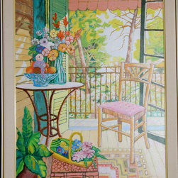 Lloyd van Pitterson, Untitled - Front Porch with Pink Chair, Oil Painting - Artist:  Lloyd van Pitterson