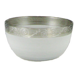 """Heirloom Pewter Swirl 6"""" Bowl - This lovely hand painted 6"""" bowl is painted in frosted white and pewter and accented with swirls and dots.  Perfect for any season or any occasion. It also works perfectly as a dessert dish or sold bowl. Perfect for the Holidays or any season.  Something to be handed down from generation to generation.  Proudly hand painted in the USA."""