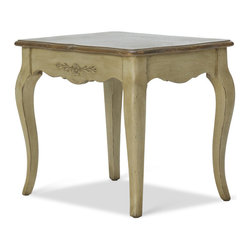AMORE DI CASA - Poetique End Table (Large) - The Poetique range features subtle curves, floral decorations and cream tones. The side table fits in perfectly with other pieces from the Poetique collection.