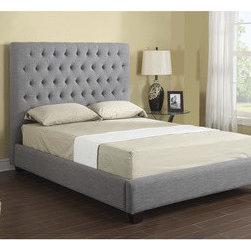 Emerald Grey Linen Tufted Platform Upholstered Bed -