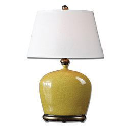 Uttermost - Geraldine Burnt Yellow Table Lamp - Every room needs at least one accent of brilliant color that sets it apart from everything else. This is a place to start. The distressed, burnt yellow-glazed table lamp has antiqued silver detailing to add interest and depth. It will elevate your room and your mood — and that's before you turn it on!