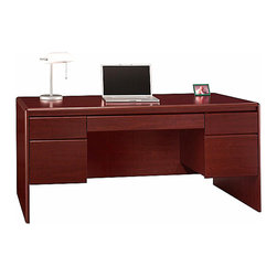 Bush - Double Pedestal Desk - Northfield - The stately Northfield Double Pedestal Desk provides an expansive workspace with generous storage, combined in an attractive design that will enhance any office setting.  This magnificent desk can be expanded even further just by adding the popular Northfield Office Return. * 8-way rounded radius edges. Durable melamine worksurface. Recessed modesty panel for guest seating. Desktop grommets for wire management. Two box drawers for miscellaneous supplies. Two file drawers hold letter- or legal-size files. Lock for file drawer conveniently located in knee well. Accepts Pencil Drawer/Keyboard Shelf EX17751. Accepts Return EX17710 on left or right side by removing desk pedestal and mounting it on the Return. 66.614 in. W x 29.331 in. D x 30.709 in. H