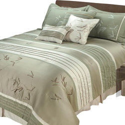 "Jenny George Designs - Sansai Collection - Sansai 7 piece Pieced comforter set with pleating and embroidery.  Dry Clean Only. Imported. Full/Queen set includes 1 comforter (90""x92""), 1 bedskirt (60""80""x15""), 2 standard shams (20""x26"") and 3 decorative pillows ( 2 18""x18"" and 1 12""x16""); king set includes 1 comforter (108""x92""), 1 bedskirt (78""x80""x15""), 2 king shams (30""x26""), and 3 decorative pillows (2 18""x18"" and 1 12""x16""); cal king set comes with 1 comforter (108""x92""), 1 bedskirt (72""x84""x15""), 2 king shams (20""x36"") and 3 decorative pillows (2 18""x18"" and 1 12""x16"")."