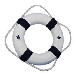 """Handcrafted Nautical Decor - Blue Nautical Decorative Life Ring, 15"""" - The Blue and White new 15"""" decorative lifering is the perfect nautical accent to add to your home, office, or pool area. Blue canvas straps accent the white lifering displaying nautical stars in blue, and will make guests and family feel at home and comfortable. Lightweight styrofoam construction makes the medium 15"""" lifering easy to hang anywhere so you can bring that nautical ocean feel into the comfort of your own home, office, nautical clubhouse, or poolhouse."""