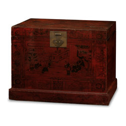China Furniture and Arts - Hand Painted Tibetan Trunk - Decorated all over with detailed painting on a dark red finish, the exotic Tibetan art style is manifested on this roomy trunk. The careful, linear brushstrokes and meticulous attention to detail display the artist's passion for their work. It is a one-of-a-kind item that will last for generations to admire. Fully assembled.