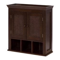 Elegant Home Fashions - Cane 2 Door Wall Cabinet with Cubbies - The Cane 2 Door Wall Cabinet with Cubbies from Elegant Home Fashions offers a classic look that compliments any bathroom. The cabinet design offers ample storage space. The cabinet features one interior adjustable shelf that is ideal for storing items of different sizes.  The cane  paneled doors and wooden knobs add a charming touch. This cabinet comes with assembly hardware.