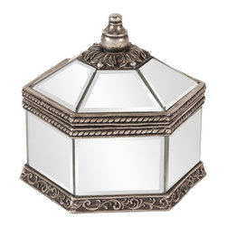 Howard Elliott - Howard Elliott Octagonal Mirrored Jewelry Box X-06111 - This Howard Elliott box starts with an unexpected octagonal shape. This transitional box features mirrored panels with beveled edging, paired with beautiful metal detail work with flourishes and other elements. Aged silvery tones complete the design perfectly.