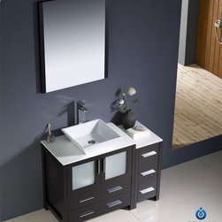 """Fresca - Fresca Torino 42"""" Modern Single Vessel Sink Vanity Set w/ Side Cabinet - Fresca is pleased to usher in a new age of customization with the introduction of its Torino line. The frosted glass panels of the doors balance out the sleek and modern lines of Torino, making it fit perfectly in either 'Town' or 'Country' decor. Available in the rich finishes of Espresso, Glossy White, Light Oak and Walnut Brown, all of the vanities in the Torino line come with either a ceramic vessel bowl or the option of a sleek modern ceramic integrated sink."""