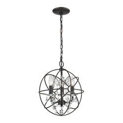 Sterling - Sterling 124-003 Restoration 3 Light Globe With Crystal Pendant - Sterling 124-003 Restoration 3 Light Globe With Crystal Pendant