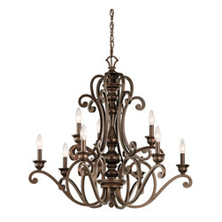 Kichler - Mithras Nine-Light Terrene Bronze Chandelier - - Mithras Nine-Light Terrene Bronze Chandelier.   - Body Made of Steel.   - Bulbs Not Included.   - Chain Length: 72.   - Extra Lead: 45. Kichler - 43280TRZ