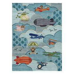 Momeni - Momeni Lil Mo Whimsy Lmj10 Sky Area Rug - Lil' Mo Whimsy by Momeni features an eclectic collection of retro designs, including forest creatures, robots, and motor vehicles. With its bright colors, these Momeni rugs would be a great addition to a child's room or a recreational room in your home.