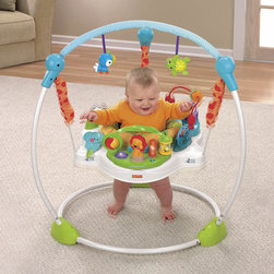 Fisher-Price - Precious Planet Sky Jumperoo - Features: -Baby's jumping is rewarded with lights, fun music and sound effects.-Have a 360 degree spinning seat that allows baby to explore 5 different toy stations.-Including the main toy with light up friends, fun spinning balls, and activity play.-Spinning drum with butterfly and rattle beads, a mirror with bead bar, 2 bat at toys hang overhead.-3 Position height adjustment allowing babies of all sizes to jump about.-Soft spring covers keep little fingers safe and three-position height adjustment ensures a custom fit.-Plush seat pad is machine washable and dryer safe.-Use only for a child who is able to hold head up unassisted and who is not able to climb out or walk.-Moving and jumping enhance large motor skills.-Variety of textures integrated into toys provide tactile stimulation.-Baby's actions make things happen, helping baby understand cause and effect.-Reaching and grasping onto toys fosters eye-hand coordination.-Peace of mind-safe alternative to walkers and doorway jumperoos.-Easy storage-tubes simply pop off base.-Precious Planet collection.-Collection: Precious Planet.-Product Type: Bouncer.-Distressed: No.-Non Toxic: Yes.-Lifestage: Baby.-Foldable: No.-Musical: Yes.-Power Swinging: No.-Battery Operated: Yes -Battery Type: AA.-Batteries Included: No..-Lights: Yes.-Toys Included: Yes -Number of Toys: 19..-Snack Tray: No.-Lightweight: No.-Canopy: No.-Harness: No.-Adjustable Seat: Yes.-Removable Seat: Yes -Machine Washable : Yes..-Padded Seat: Yes.-Adjustable Height: Yes.-Wheels: No.-Doorframe Assembled: No.-Outdoor Use: No.-Weight Capacity: 25.-Swatch Available: No.-Commercial Use: No.-Recycled Content: No.-Eco-Friendly: No.Dimensions: -Overall Height - Top to Bottom: 36.-Overall Width - Side to Side: 30.-Overall Depth - Front to Back: 30.Assembly: -Assembly Required: Yes.-Additional Parts Required: No.