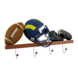 Decorative Football Themed Wall Hooks - These football themed wall hooks add a decorative accent to the wall while providing 4 hooks to hang things up to help you stay organized. Made of cold cast resin, this piece measures 12 1/2 inches long, 7 inches high, and 1 3/4 inches deep. It is a wonderful addition to the homes of football fanatics, and looks great in children's rooms.