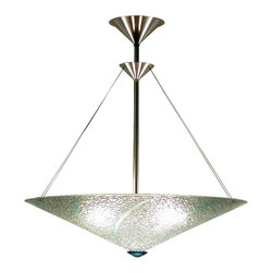 George C. Scott Studios - Dichroic Spears Chandelier, Cone - This fused and slumped glass light shade is handmade. The colorful glass ornamentation is cut and arranged by hand, then fired at high temperature in an electric kiln.