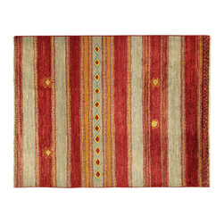 Manhattan Rugs - New Navajo Red/Grey Stripe Handmade Rug 9x12 Super Fine Hand Knotted Wool - MC11 - This is a true hand knotted oriental rug. it is not hand tufted with backing, not hooked or machine made. our entire inventory is made of hand knotted rugs. (all we do is hand knotted)