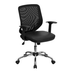 Flash Furniture - Mid-back Black Office Chair with Mesh Back and Italian Leather Seat - This value priced mesh office task chair will accommodate your essential needs for your home or office. Chair features a breathable mesh back with a comfortably padded leather seat. Chair is height adjustable to conform to several desk sizes.