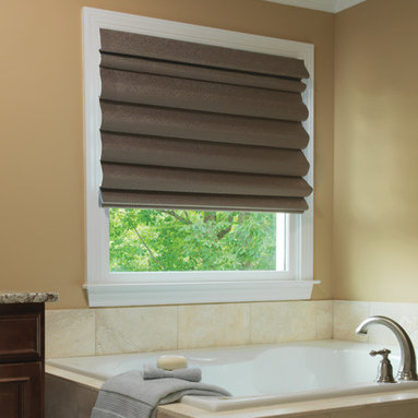 Levolor - Levolor Roman Shades: Scrolls (Room Darkening) - Classic design meets modern technology with these roman shades from Levolor.  The room darkening fabric collection is perfect for bedrooms, media rooms and more.  The Classic Scroll collection features a traditional two-tone jacquard pattern while the Modern Scroll selection offers a more contemporary and slightly whimsical design.