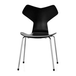 Republic of Fritz Hansen - Grand Prix Chair | DWR - This design by mid-century Danish master Arne Jacobsen didn't just win the most prestigious award at the Milan Trienniale – it was named for it. Originally introduced at an exhibition at the Danish Museum of Art and Design in 1957, it was displayed later that year in Milan where it took the Grand Prix award, as well as the name. It's no surprise. Jacobsen applied his expert understanding of the human form and wood molding techniques to create this lightweight, stackable, contract-quality seat, which remains an ideal choice for a wide range of commercial and residential applications. Original design and licensed manufacture by Republic of Fritz Hansen. Made in Denmark. Molded plywood seat and back are shaped to comfortably support the body. Available in a wide assortment of finishes, including wood, paint and lacquer. Stackable up to 6 or 12 high with the dolly for compact storage.