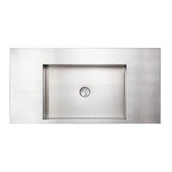 Whitehaus Collection - Whitehaus WHNCMB003 Stainless Steel Rectangular Above Mount Bathroom Basin - Stainless steel rectangular above mount bathroom basin by Whitehaus is an eye catching modern designed element that completes your bathroom d?cor. Combination of different forms and styles with creative designs brings desirable touch of a modern elegance to your bathroom. This bathroom sink fits perfectly wide range of bathroom styles.