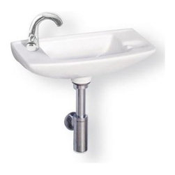 Whitehaus - Isabella Sink w Center Drain - Includes mounting hardware. Faucet not included. Wall mounted. Single hole faucet drilling on left side. Made from porcelain. White color. Center drain: 1.75 in.. Inside: 10.25 in. W x 6 in. D x 4 in. H. Overall: 17.5 in. W x 8 in. D x 5.5 in. H (11 lbs.). Warranty. Installation Instructions