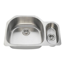 PolarisSinks - Polaris PL123 Offset Double Bowl Stainless Steel Sink - Stainless Steel is the most popular choice for today's kitchens due to its clean look and durability. The beautiful brushed satin finish helps to hide small scratches that may occur over the lifetime of the sink. Our Stainless Steel sinks are made from high quality 18 gauge steel. Most models are made of one piece construction that ensures the sturdiest kitchen sink you will find. Our sinks are made from 304 grade stainless steel that contains 18% chromium and 8-10% nickel and are guaranteed not to rust. Each sink is fully insulated and has a sound dampening pad. Our stainless steel sinks are backed by a Limited lifetime warranty. Each sink comes with a cardboard cutout template and mounting hardware.