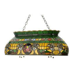 "Meyda Tiffany - 32""L Pool Shark Oblong Pendant - Rack em up! This oblong billiard pendant features a"