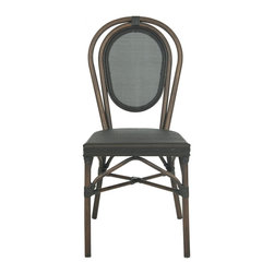 Safavieh - Ebsen Side Chair - Reminiscent of classic Thonet bistro chairs, this set of two Ebsen side chairs by Safavieh is treated to state of the art materials for outdoor use. Crafted with aluminum frame and black Textilene fabric, this easy care design is pretty enough to use indoors.