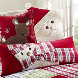 Christmas Decorative Pillows - Top the bed with a playful pillow celebrating the holidays. Wintertime scenes of St. Nick and his friends bring seasonal cheer.
