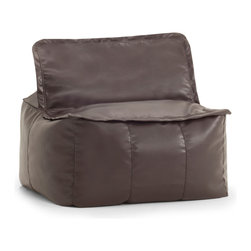 Comfort Research/Big Joe - BIG JOE LUX ZIP IT! SQUARE, Brown Vegan Leather - At Comfort Research, being called a square is one of the nicest things you can say about someone. That's because it refers to our Zip It! Square, a super comfy, ultra soft, glass half-full kind of chair that can do most anything. It can be a seat, a foot rest or a trustworthy  cushion to lean against if the couch is full. And because it's a member of our Zip It! family, the Square goes the extra yard by unzipping to reveal additional lower back support. So go ahead and call us a square. We'd be honored. Filled with UltimaX Beans that conform to you.  Double stitched and double zippers. Spot clean.  Available in assorted colors and fabrics.