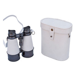 Handcrafted Nautical Decor - Captain's Oil-Rubbed Bronze/White Leather Binoculars with Leather Case 6'' - These beautiful Hampton Nautical Captain's Oil-Rubbed Bronze/White Leather Binoculars with Leather Case 6'' will make anyone feel like a true navigator. With classic eye pieces, these binoculars have in-line prisms for improved field of view and precision ground glass 1.75 inch (44 mm) diameter objective lenses. Focusing is accomplished using a knurled focusing knob on top of the binoculars. The binoculars have a leather strap and come with a handmade leather case.--------    Oil-rubbed bronze wrapped in white leather  nautical binoculars--    --    Functional and decorative nautical decor--    20x magnification--    Easy focusing with knurled knob--    Leather strap and handmade leather case included for safe keeping--    Custom engraving/photo etching available; logos, pictures, and slogans can easily be put on any item. Typical custom order minimum for engraving is 100+ pieces. Minimum lead time to produce and engrave is 4+ weeks.--