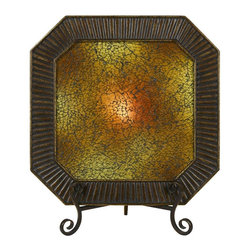 Cal Lighting - Elizabethe Lighted Charger Plate w Crackle Gl - Requires 15W bulb (not included). Elizabethe lighted charge plate with crackle glass. Antique Bronze finish. Height: 19 in.. Base: 11.5 in.