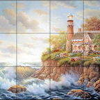 The Tile Mural Store (USA) - Tile Mural - Haven Of Peace  - Kitchen Backsplash Ideas - This beautiful artwork by Judy Gibson has been digitally reproduced for tiles and depicts a lighhouse scene.  Our lighthouse tile murals and nautical themed decorative tiles are perfect as part of your kitchen backsplash tile project or your tub and shower surround bathroom tile project. Lighthouse images on tiles add a unique element to your tiling project and are a great kitchen backsplash idea. Use a lighthouse scene tile mural for a wall tile project in any room in your home where you want to add interest to a plain field of wall tile.