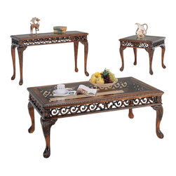 Yuan Tai - Prescott 3 Pc Occasional Table Set - Includes one cocktail table, one end table and one sofa table. Glass top. Intricate carvings. Warranty: Six months from the date of delivery. Made from solid and wood veneer. Dark cherry finish. Assembly required. Cocktail table: 50 in. W x 19 in. D x 28 in. H (30.88 lbs.). End table: 26 in. W x 26 in. D x 23 in. H (19.86 lbs.). Sofa table: 50 in. W x 18 in. D x 30 in. H (24.26 lbs.)