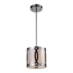 Elk Lighting - Elk Lighting Anastasia Modern / Contemporary Mini Pendant Light X-1/27101 - The Anastasia Contemporary Mini Pendant Light has an elegant and timeless look. This piece captivates the arrays of ovals etched out of a single sheet of steel and are silhouetted by a light silver fabric diffuser on the inside of a drum shaped shade. With a Polished Nickel finish, this piece will shine in any room.
