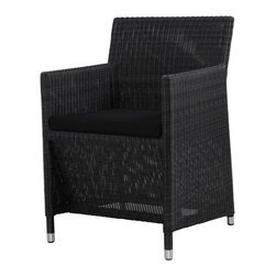 Mama Green - Vigo Dining Arm Chair, Black - The Vigo Collection is a transitional line from Mamagreen. With a cushioned woven dining chair and chunky legged dining tables, the Vigo collection is as durable and reliable as it is beautiful. The tables in the Vigo collection are available with stainless steel, aluminum, or teak legs and the table top is comprised of three over-sized 100% FSC certified reclaimed teak planks.