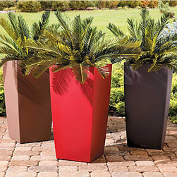 "Improvements - Self-Watering Square Tall Tapered Planter-Modern Smooth Surface 22"" - Our Self-Watering Modern Planters offer both exceptional style and growing ease. Spend less time watering! These contemporary outdoor planters have a built-in sub-irrigation system that allows plants to draw up water as needed, for several days or even weeks. The integrated water level indicator will tell you when it's time to refill the reservoir. Made of sturdy polyethylene, the Self-Watering Modern Planters have a smooth surface that is shatterproof and UV-resistant. Each outdoor planter includes a lift-out plant liner for easy planting and transporting. Choose from 2 sizes in assorted fashionable colors. Each Self-Watering Modern Planter comes with a 6-liter bag of Plant Aeration Substrate to create a drainage layer between the water reservoir and the soil layer in your planter. Composed of pumice, zeolites, and lava, Plant Aeration Substrate also includes slow-release fertilizer that is effective for 6-12 months. Reusable. Plant Aeration Substrate is also sold separately to be used with all your potted plants."