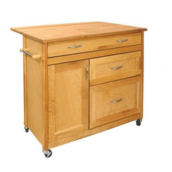 Catskill Craftsmen - The Mid-Sized Double Leaf Drawer Island in Na - Large top drawer. 2 Large, lower drawers with full extension glides. Enormous drawer storage as well as enclosed cabinet storage. Drop leaf almost doubles the work surface. 2 Towel bars. Locking casters. Adjustable interior shelf. Solid wood doors, drawer, braces and top. Warp-resistant hardwood veneer side and back panels. Nickel-plated hardware. Oiled finish. Assembly Required. Made in the USA. Table top with drop leaf:. Open:  38 in. W x 26.5 in. D. Close: 38 in. W x 16.5 on. D  . Interior drawer:. Top: 30.25 in. W x 12.25 in. D x 3.5 in. H. Middle: 18.25 in. W x 13.25 in. D x 8 in. H. Bottom: 18.25 in. W x 13.25 in. D x 12.75 in. H. Interior cabinet: 12.75 in. W x 13.5 in. D x 22.5 in. H. Overall: 40 in. W x 26.5 in. D x 34.5 in. H  Our Kitchen Islands are made of the finest domestic hardwoods available. The hardwoods we use are not endangered, are self-replenishing, and we even recycle all scraps into wood pellet fuel.