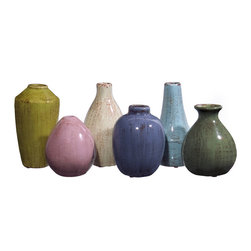 Mini Tuscany Vases - Set of 6 - *Set of six mini ceramic tuscan style vases in varying shapes and colors.