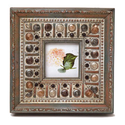"Traders and Company - Enamel Inlaid 3x3 Wood Picture Frame w/ Jewels, 7.5""Lx1.5""Wx7.5""H - Cloisters - Crafted from wood and given a classically antiqued look, each frame is dramatically inlaid with swirled resinous enamel. Embedded colorful rhinestone jewels dot the design, adding sparkle and shimmer to your photos. Each frame comes with an attached kickstand for desktop use, or hooks for vertical or horizontal wall hanging. Fits 3""x3"" photos. Alternate shapes & styles sold separately. Dimensions: 7.5""Lx1.5""Wx7.5""H"