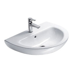 GSI - Round Ceramic Wall Mounted Bathroom Sink, One Faucet Hole - This beautiful round luxury bathroom sink is perfect for any modern or contemporary setting. Made out of high quality ceramic and finished in white. Sink includes overflow and the option for no faucet holes, one hole, or three holes. Made in Italy by GSI.