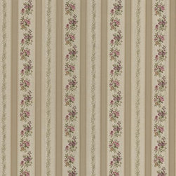 Brewster Home Fashions - Merle Bronze Floral Stripe Wallpaper Bolt - A warm floral stripe for walls in a luxe bronze hue. This Victorian inspired wall covering is both elegant and inviting with maroon sage and peach accents.