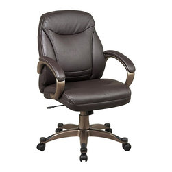 Office Star - Mid Back Deluxe Faux Leather Chair in Espress - Made of Leather/Metal. Thick Padded Contour Seat and Back with Built-in Lumbar Support. One Touch Pneumatic Seat Height Adjustment. Padded Arms. Faux Leather: Espresso. Heavy Duty Coated Finished Base with Dual Wheel Carpet Casters. Pictured in Espresso Leather. Some assembly required. Back Dimension: 20.5 in. W x 22 in. H x 3.5 in. T. Seat Dimension: 20.5 in. W x 18 in. D x 4 in. T. Overall Dimension: 24.75 in. W x 27 in. L x 42.25 in. H