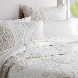 Katelyn Paisley Ruffle Appliqué Quilt - This cozy and inviting bedspread, although white, warms the room with comfort.