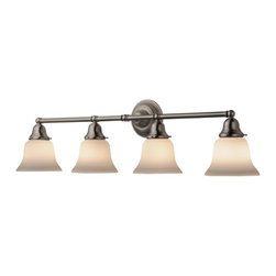 Design Classics Lighting - Four-Light Bathroom Vanity Light with Bell Shades - 674-09/G9110 KIT - Arts and crafts / craftsman satin nickel 4-light bathroom light. Traditional styling and a satin nickel finish make this the perfect choice for any vanity. Takes (4) 100-watt incandescent A19 bulb(s). Bulb(s) sold separately. Dry location rated.