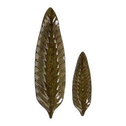 """IMAX CORPORATION - Rona Leaf Plates - Set of 2 - Set of two, decorative rona leaf plates with a high gloss finish. Comes in various sizes measuring around 26.5""""L x 10""""W x 8.5""""H each. Shop home furnishings, decor, and accessories from Posh Urban Furnishings. Beautiful, stylish furniture and decor that will brighten your home instantly. Shop modern, traditional, vintage, and world designs."""